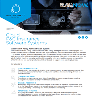 WaterStreet Company software guide - Cloud P&C insurance software systems
