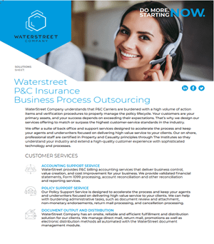 WaterStreet Company services guide for P&C insurance business process outsourcing
